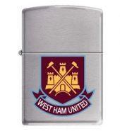 Zippo Classic Satin Chrome Windproof Petrol Lighter West Ham United FC 205WHFC