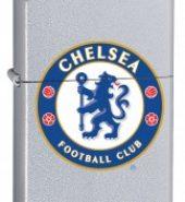 Zippo Classic Satin Chrome Windproof Petrol Lighter Chelsea FC 205CFC