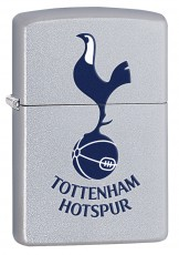 Zippo Classic Satin Chrome Windproof Petrol Lighter Tottenham Hotspur FC 205THFC