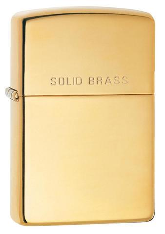 Zippo High Polish Solid Brass Windproof Petrol Lighter 254REG