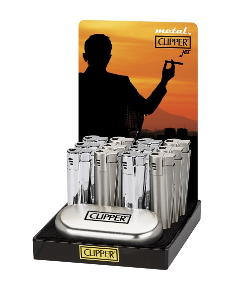 Clipper Metal Gift Brushed Chrome Jet Flame Lighter (Gift Box)