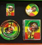 Smoker Set Rasta Grinder, Lighter, Cigarette Case & Ashtray 4 pcs