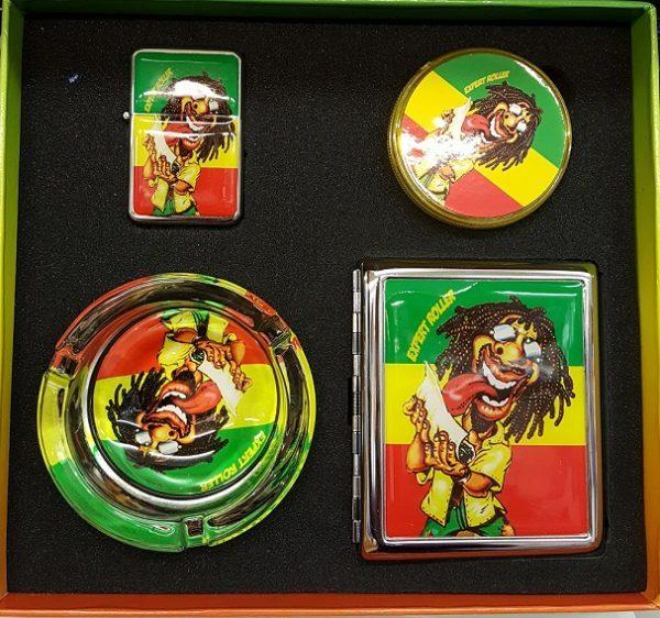 Smoker Set Rasta Design Grinder, Lighter, Cigarette Case & Ashtray 4pcs