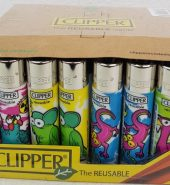 4 x Clipper Assorted Mutant Animals Print Refillable Lighters