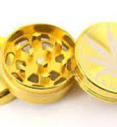 3 Part Grass Leaf Gold Metal Herb Magnetic Grinder 50mm