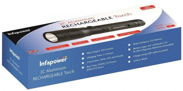 Infapower F052 Aluminium Rechargeable Torch Black 2 x C