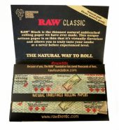 RAW BLACK Classic Single Wide Double Window Rolling Papers – 25's