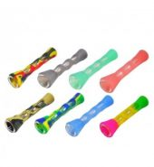Glass Smoking Pipe in Silicone Tube Cover Case – 3.5″