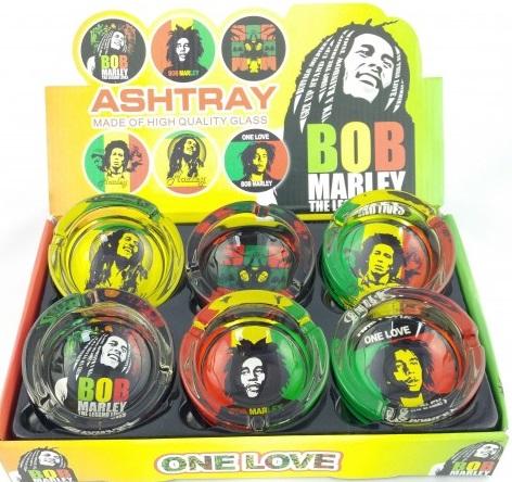 Glass Ashtray - Bob Marley Leaf Design