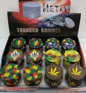 4 Part 40mm Multi Colour Metallic Leaf print Herb Grinder