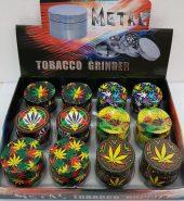 Multi Colour Metallic Leaf print Herb Grinder 4 part 40mm