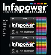 Infapower Rechargeable Batteries D 2500mAh Ni-Mh