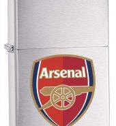 Genuine New Zippo Arsenal FC Brushed Chrome Lighter 200