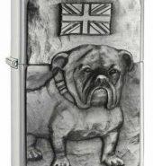 Genuine New Zippo British Bulldog Brushed Chrome Lighter 200