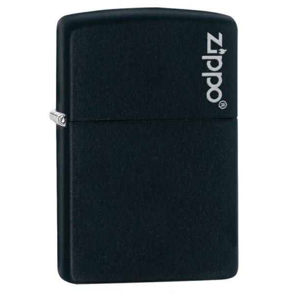 Genuine New Zippo Black Matte Logo Lighter 218ZL