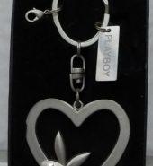 Playboy Heart with Bunny Metal Key Chain