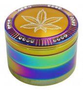 4-Part Rainbow Colour Leaf Design With Diamante Metal Handmuller