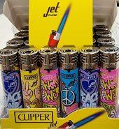 Clipper Assorted Colour Jet Flame Peace Print Lighter x 24pcs